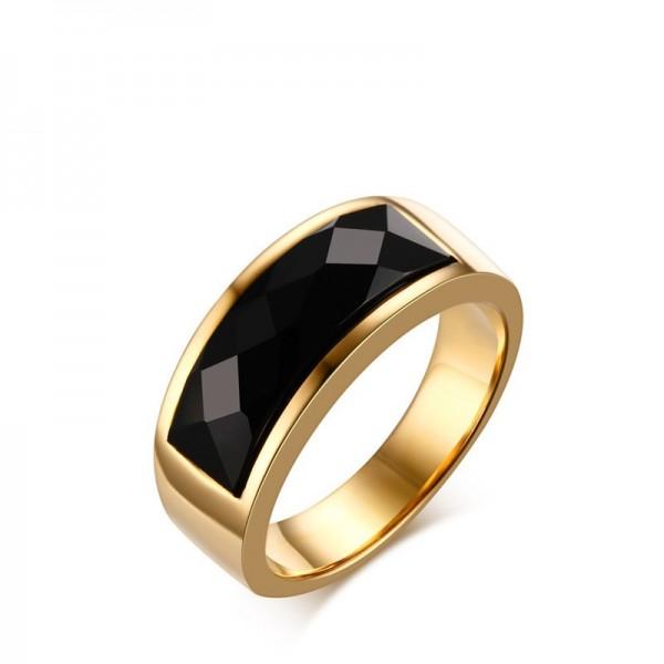 Engravable Agate Promise Ring For Men In Titanium