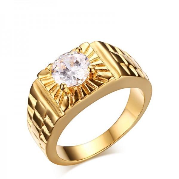 Engravable Cubic Zirconia Promise Ring For Men In Titanium