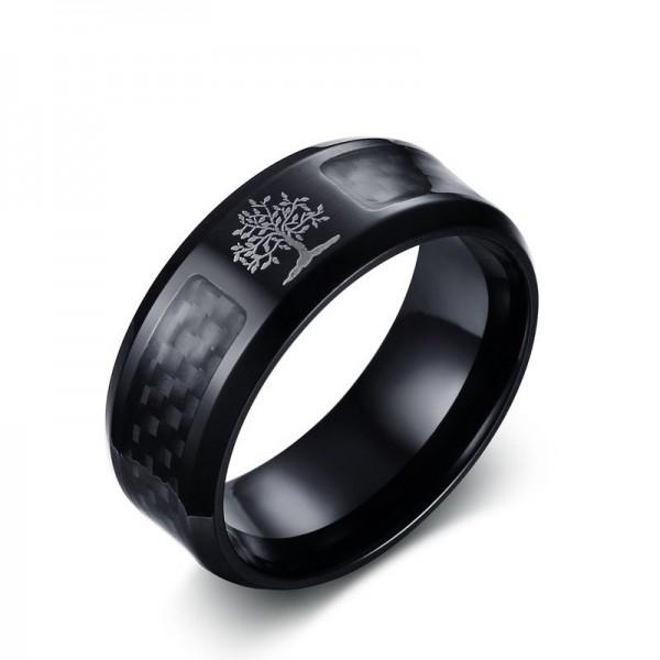 Engravable Tree Of Life Carbon Fiber Promise Ring For Men In Titanium