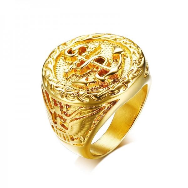 Unique Yellow Anchor Promise Ring For Men In Titanium