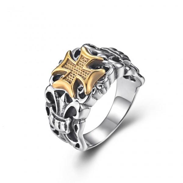 Unique 14mm Cross Promise Ring For Men In Titanium