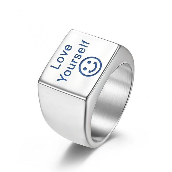 Unique 9.5mm Love Yourself luminous Wide Promise Ring For Men In Titanium