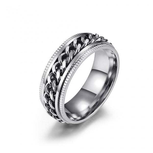 Unique 8mm Cuban Link Knot Promise Ring For Men In Titanium