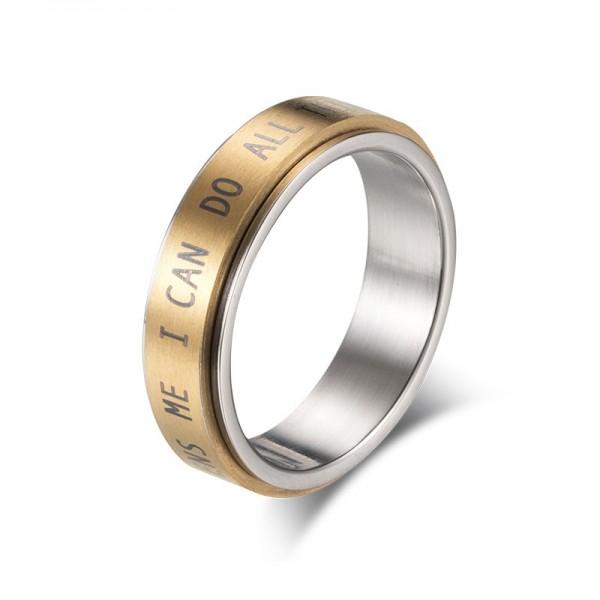 Engravable 6mm Philippians 4:13 Spinner Ring For Men In Titanium