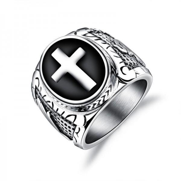 Unique 21mm Wide Cross Promise Ring For Men In Titanium