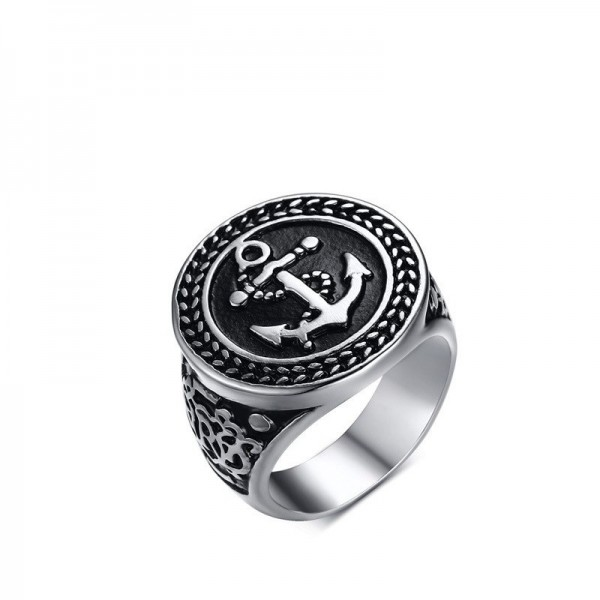 Unique 20mm Anchor Wide Promise Ring For Men In Titanium