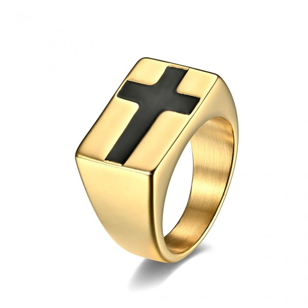 Engravable Cross Promise Band For Men In Titanium
