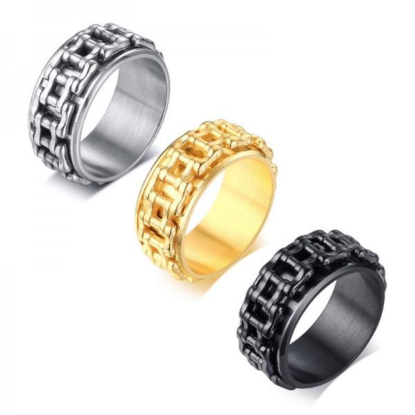 Engravable Bike Chain Knot Spinner Promise Ring For Men In Titanium