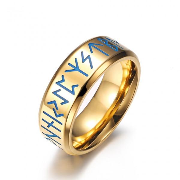 Engravable 8mm Viking luminous Promise Ring For Men In Titanium