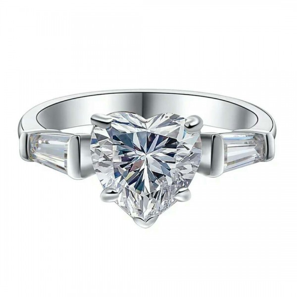 Engravable Heart Cut 2 Ct Cubic Zirconia Promise Ring For Her In Sterling Silver