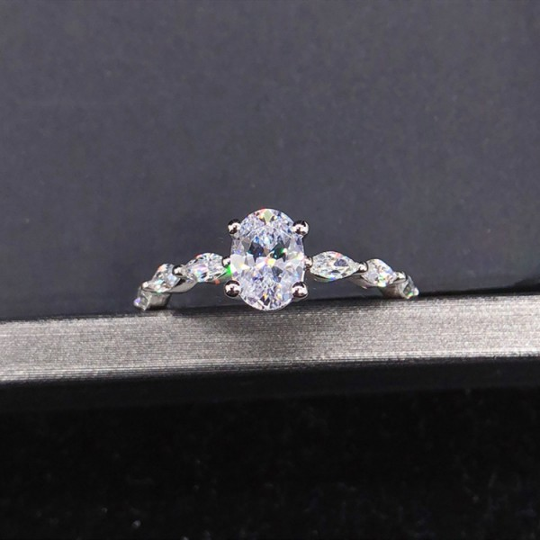 Engravable Oval Cut 1 Ct Solitaire with Side Accent CZ Promise Ring For Her In Sterling Silver