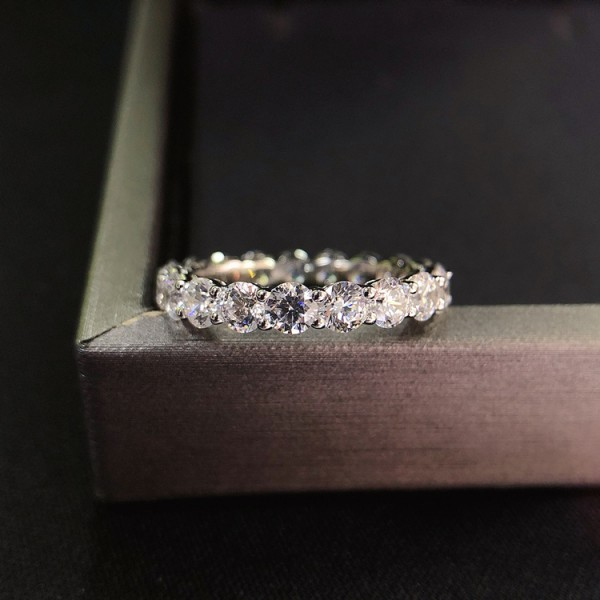 Engravable Round Cut CZ Tennis Promise Ring For Her In Sterling Silver