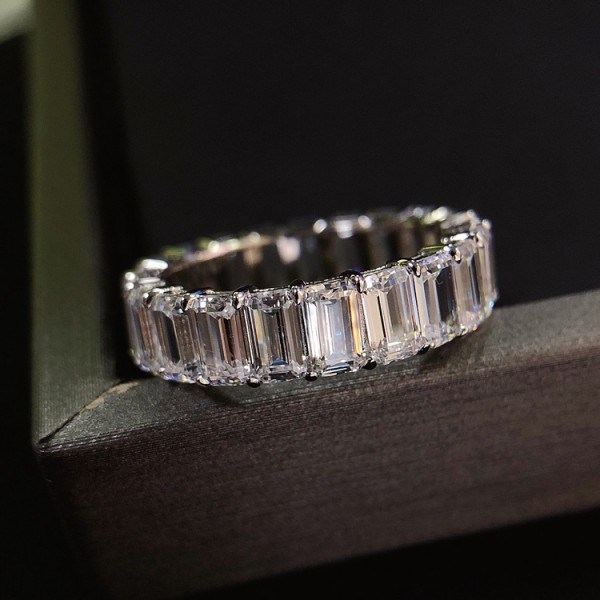 Engravable Baguette Cut CZ Tennis Promise Ring For Her In Sterling Silver