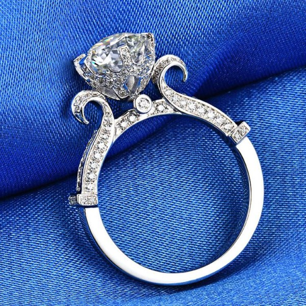 Engravable Round Cut 2 Ct CZ Flower Bud Promise Ring For Her In Sterling Silver