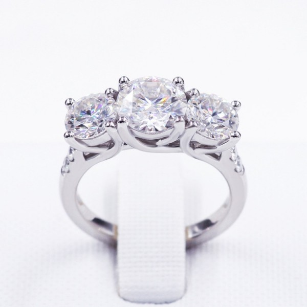 Engravable Round Cut 4 Ct 3 Stone Cubic Zirconia Promise Ring For Her In Sterling Silver