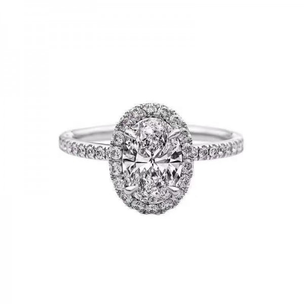 Engravable Oval Cut 2 Ct Cubic Zirconia Cluster Promise Ring For Her In Sterling Silver