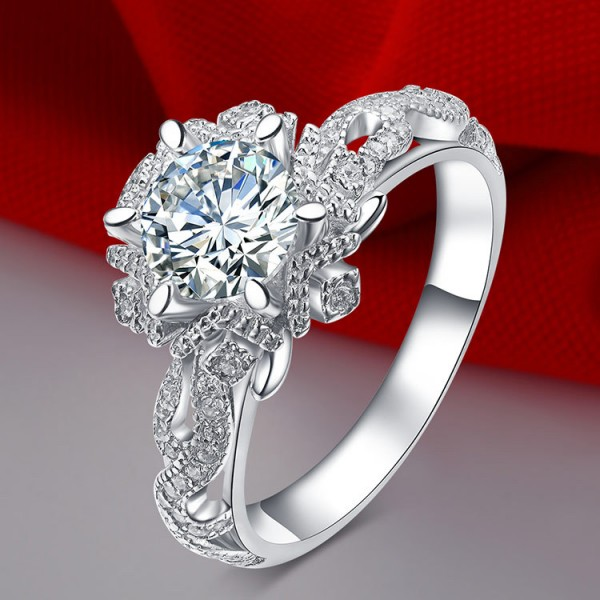 Unique Round Cut 1 Ct Cubic Zirconia Flower Promise Ring For Her In Sterling Silver