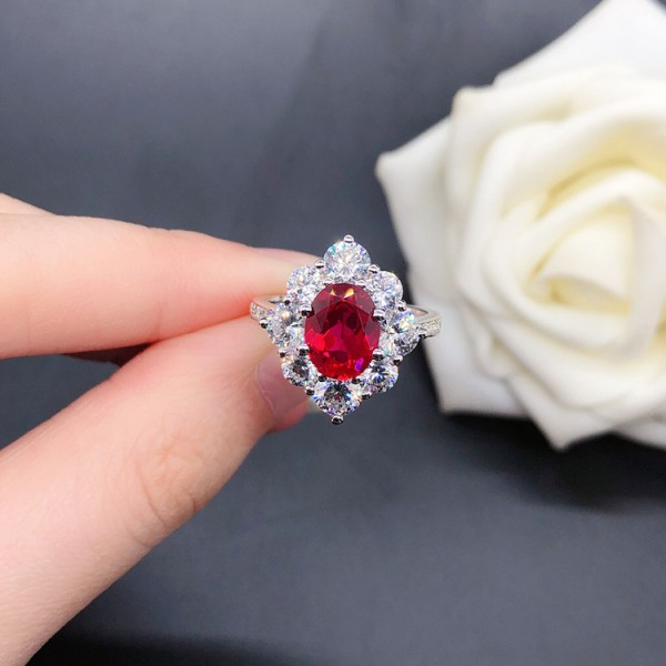 Unique Oval Cut 2 Ct Zirconia Flower Halo Promise Ring For Her In Sterling Silver
