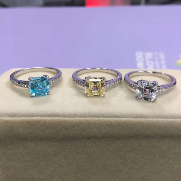 Engravable Princess Cut 2 Ct Solitaire with Side Accent Zirconia Promise Ring For Her In Sterling Silver