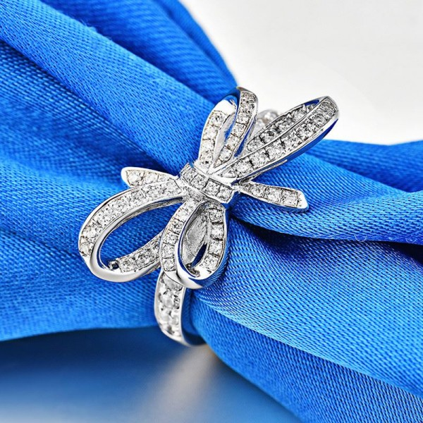 Engravable Bowknot Cubic Zirconia Promise Ring For Her In Sterling Silver