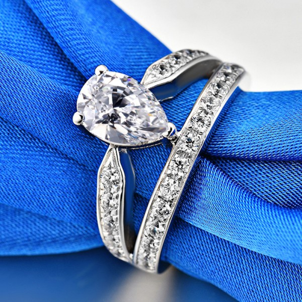 Engravable Pear Cut 1.5 Ct Cubic Zirconia Crown Promise Ring For Her In Sterling Silver