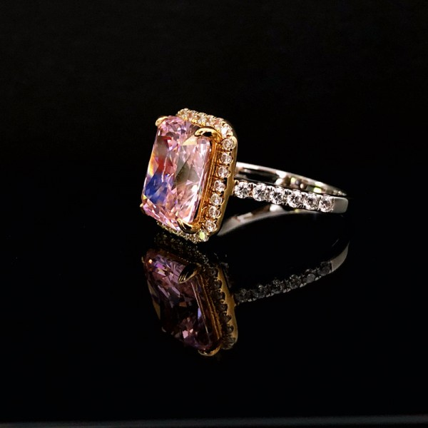 Engravable Baguette Cut 5 Ct Pink Zirconia Cluster Promise Ring For Her In Sterling Silver