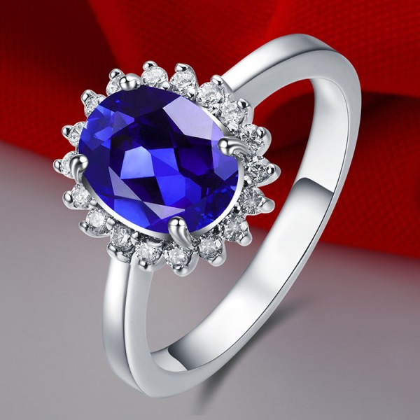 Engravable Oval Cut 2 Ct Sapphire Promise Ring For Her In Sterling Silver