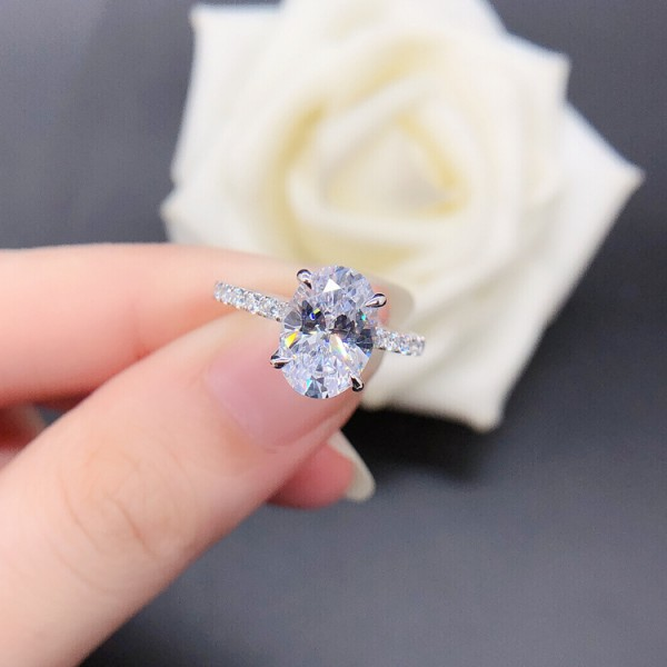 Engravable Oval Cut 2.5 Ct Cubic Zirconia Promise Ring For Her In Sterling Silver