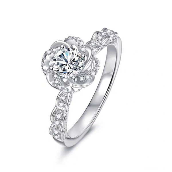 Unique Round Cut 1 Ct Cubic Zirconia Rose Promise Ring For Her In Sterling Silver