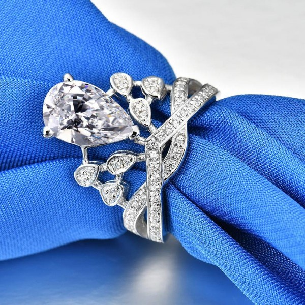 Unique Pear Cut 3 Ct Cubic Zirconia Crown Promise Ring For Her In Sterling Silver