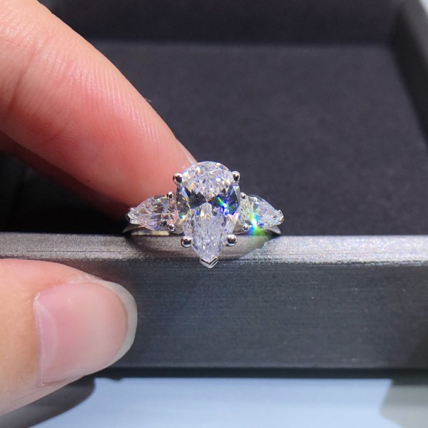 Unique Pear Cut 3 Ct Cubic Zirconia Anger Promise Ring For Her In Sterling Silver