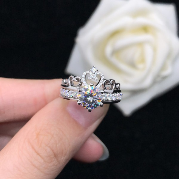 Unique 2 Pieces Princess Crown Promise Ring Set For Her In Sterling Silver