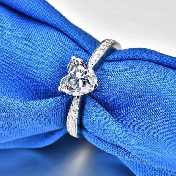 Unique Heart Cut 1 Ct Zirconia Heart Promise Ring For Her In Sterling Silver