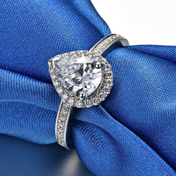 Unique Pear Cut 2 Ct Zirconia Solitaire with Side Accent Promise Ring For Her In Sterling Silver