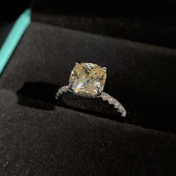 Engravable Princess Cut 2.5 Ct Zirconia Promise Ring For Her In Sterling Silver