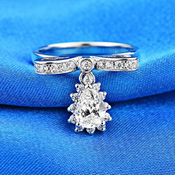 Engravable Cubic Zirconia Honey Bee Promise Ring For Her In Sterling Silver