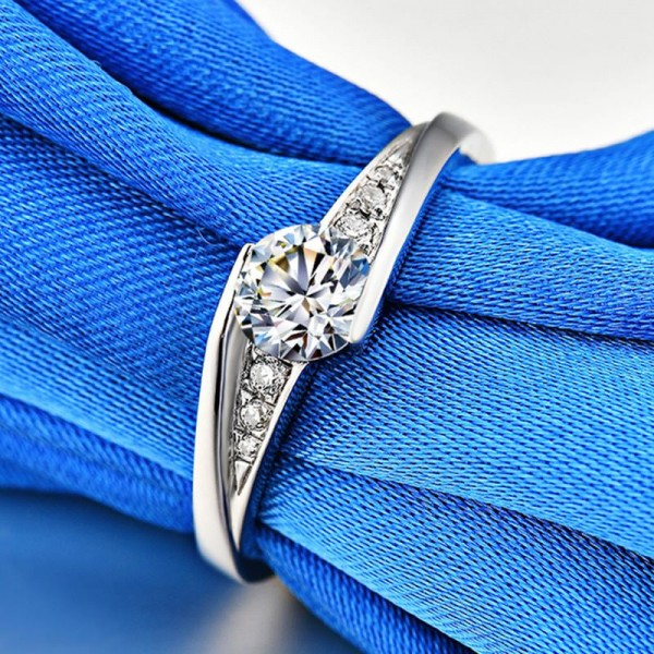 Engravable Solitaire with Side Accent Cubic Zirconia Promise Ring For Her In Sterling Silver