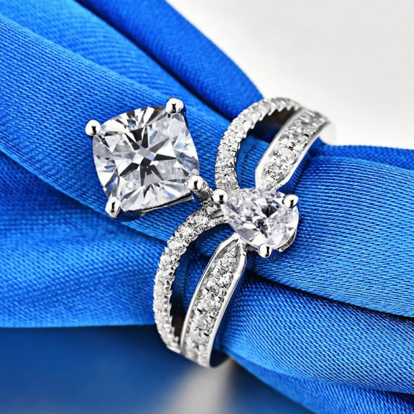 Unique Cubic Zirconia Infinity Crown Promise Ring For Her In Sterling Silver