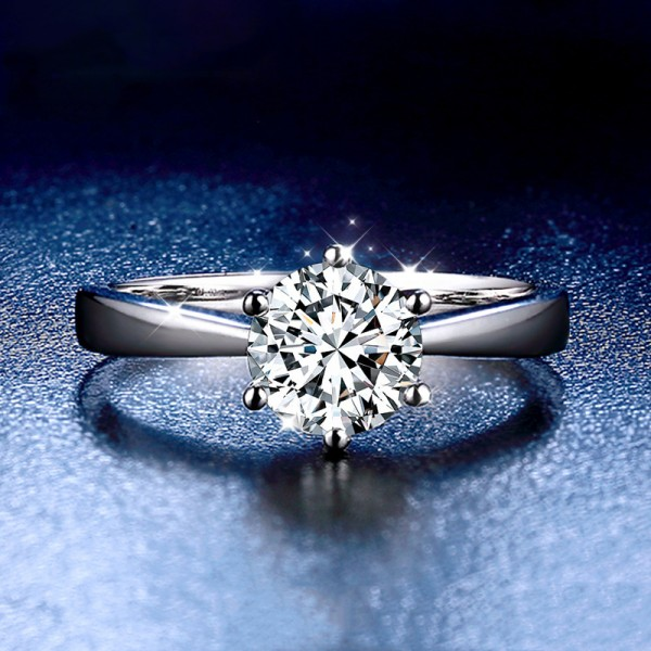 Round Cut 1 Carat tw Solitaire Moissanite Engagement Rings In 18K White Gold