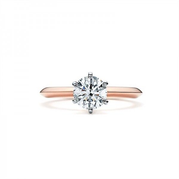 Round Cut 1 Carat tw Solitaire Moissanite Engagement Rings In 18K Rose Gold