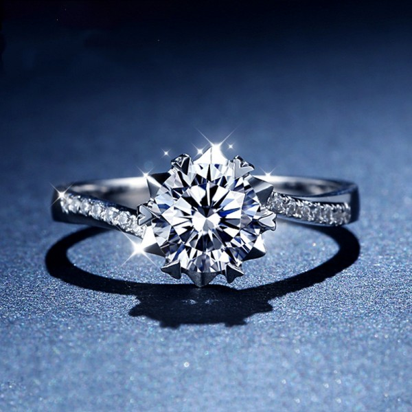 Engravable Round Cut 1 Carat tw Solitaire With Side Accent Moissanite Engagement Rings In 18K Gold