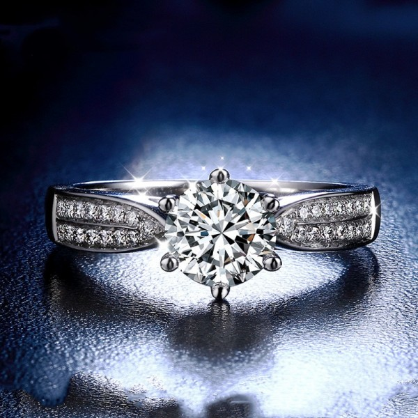 Engravable Round Cut 1 Carat tw Solitaire With Side Accent Moissanite Rings In 18K Gold
