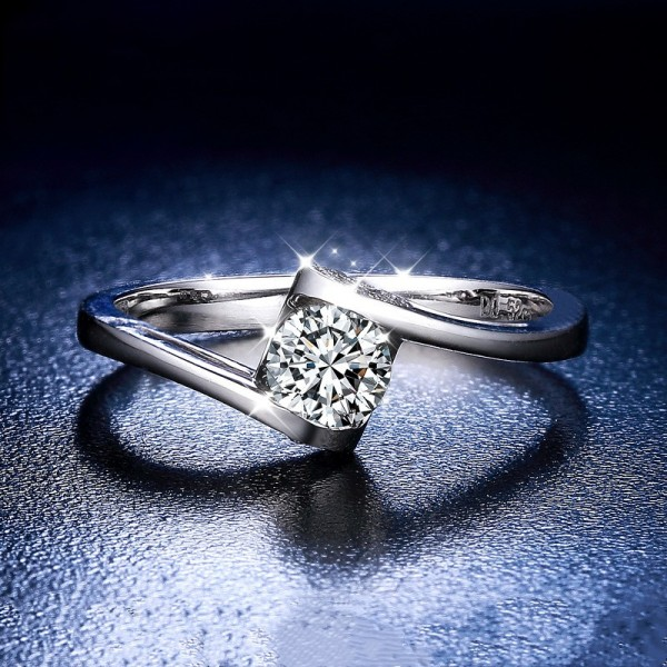 Round Cut 1/2 Carat tw Cluster Slant Striped Angel Kiss Moissanite Engagement Rings In 18K Gold