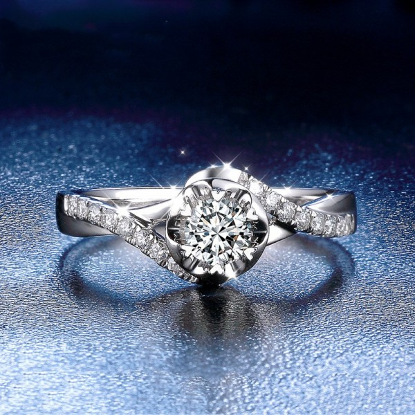Round Cut 1/2 Carat tw Solitaire With Side Accent Infinity Moissanite Engagement Rings