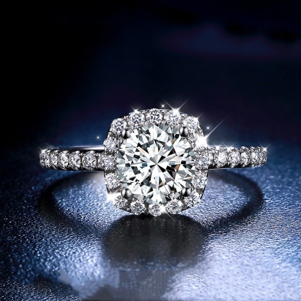 Engravable 18K White Gold Round Cut 1 Carat tw Cluster With Side Accent Moissanite Engagement Rings