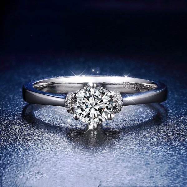 18K White Gold Engravable Round Cut 1/2 Carat tw Cluster Moissanite Engagement Rings
