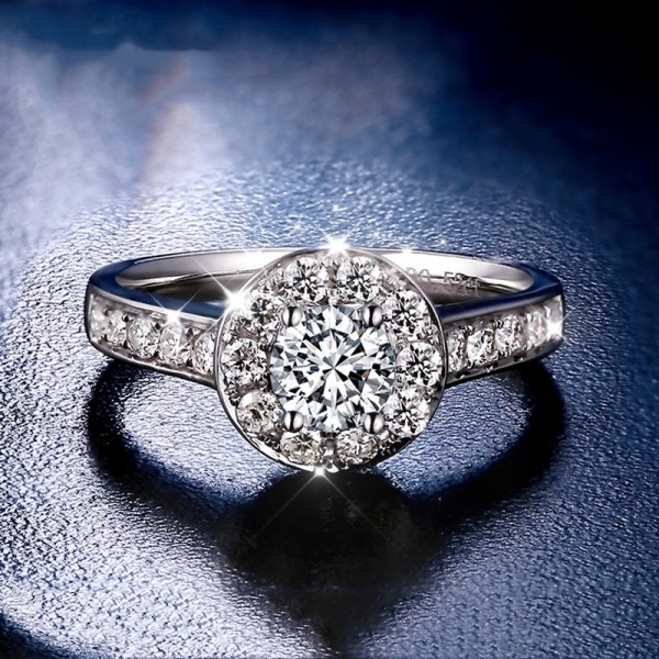 Engravable Round Cut 1 Carat tw Halo With Side Accent Moissanite Engagement Rings In 18K Gold