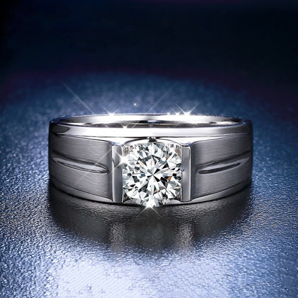 Frosted Round Cut 1 Carat tw Solitaire Moissanite Rings For Mens In 18K White Gold