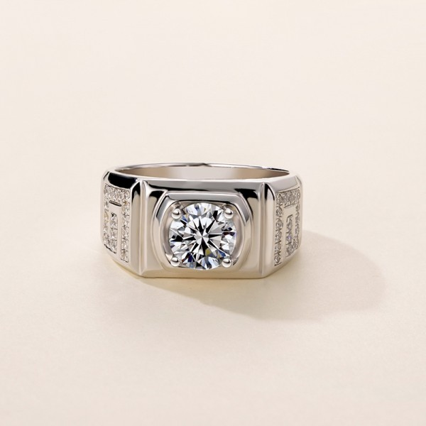 Engravable 2 Carat tw Solitaire With Side Accent Mens Moissanite Rings In 18K White Gold