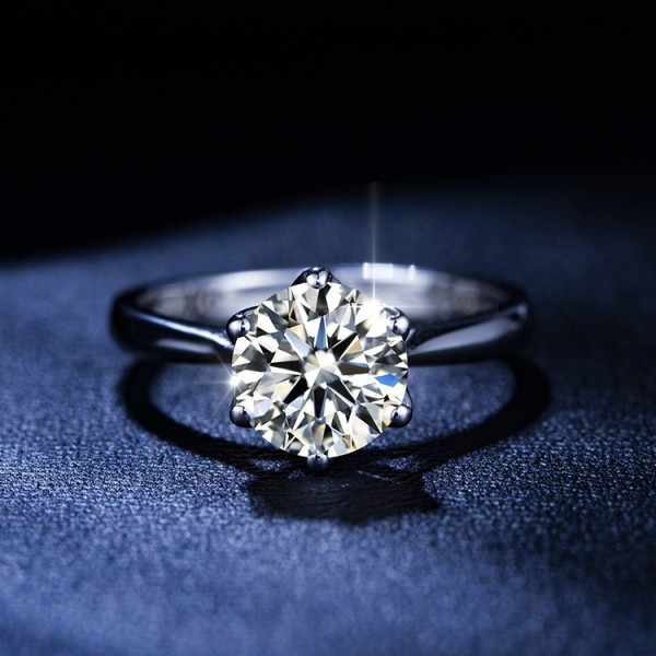 Round Cut 2 Carat tw Solitaire Womens Moissanite Rings In Sterling Silver